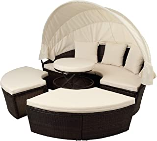 FLIEKS Outdoor Patio Round Daybed Furniture with Retractable Canopy and Coffee Table, Wicker Rattan Sofa Set Waterproof Cushions Backyard Lawn Garden Pool Porch (Beige Cushion)