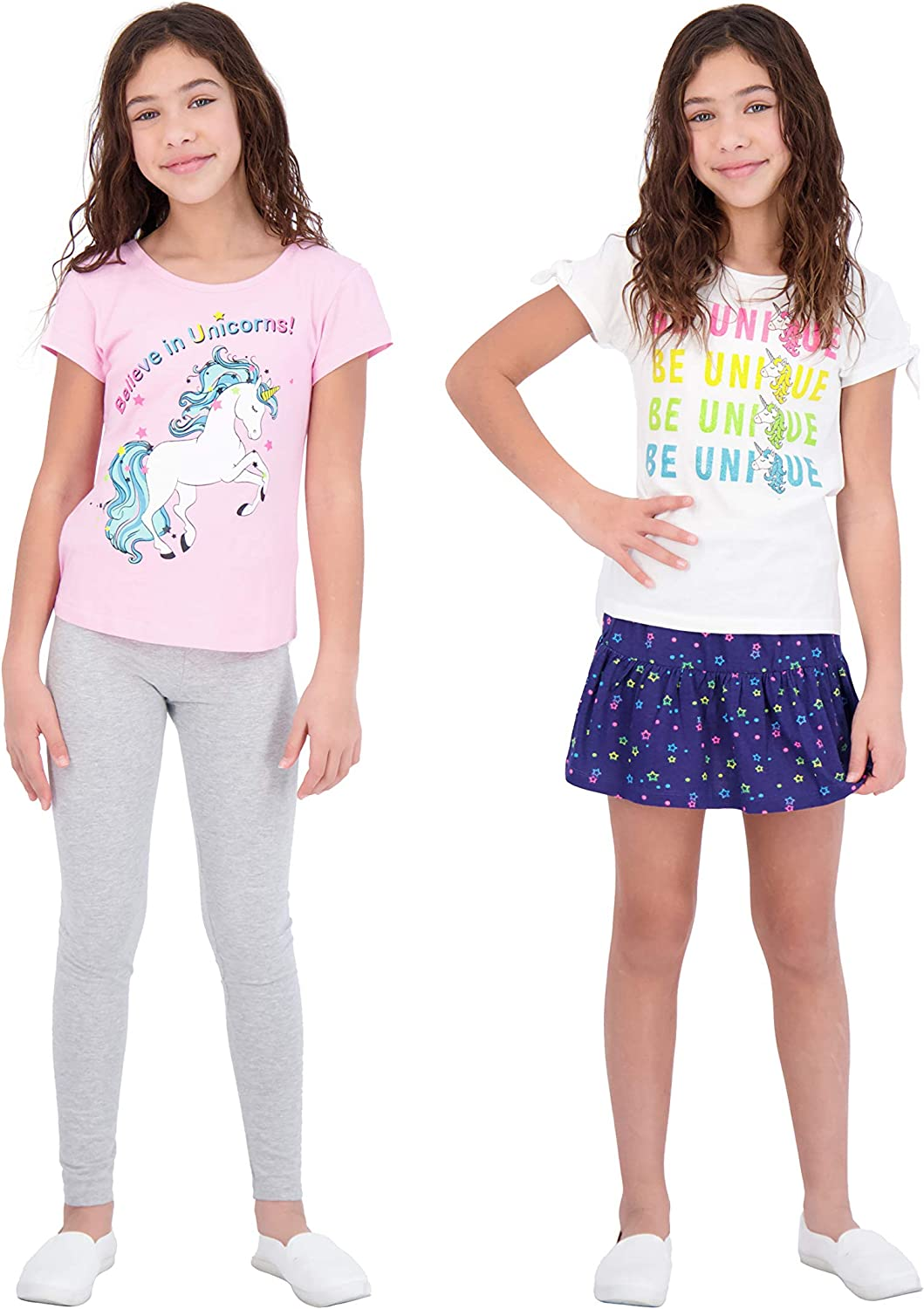 Sweet Butterfly Girls 4 Piece Leggings Skirt and Short Sleeve Fashion Tops Set for Kids Children's Clothes: Clothing, Shoes & Jewelry