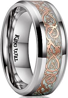 Aurora 7mm/8mm Green/Blue Celtic Dragon Aurora Luminou Glow Black/Silver Titanium Wedding Ring for Unisex