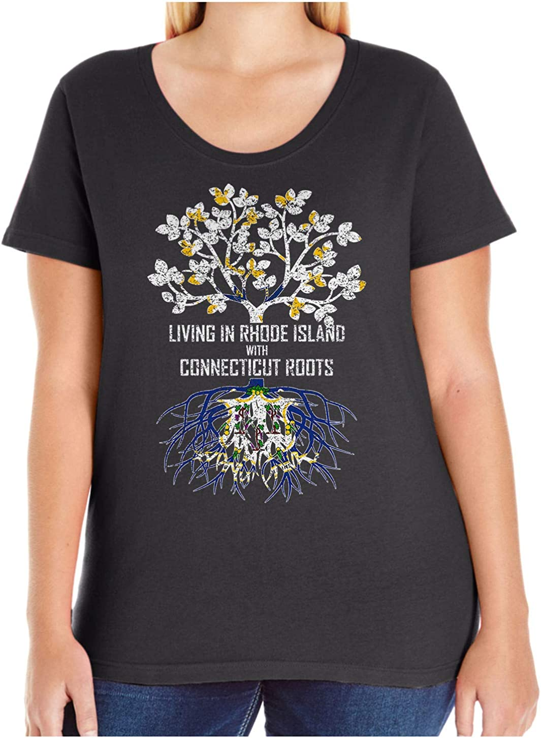 HARD EDGE DESIGN Women's Living in Rhode Island with Connecticut Roots T-Shirt