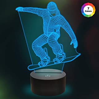 Kids Skiing 3D Night Light Optical Illusion Lamp with 7 Colors Changing Birthday Xmas Valentine's Day Gift Idea for Sport Fan Boys Girls