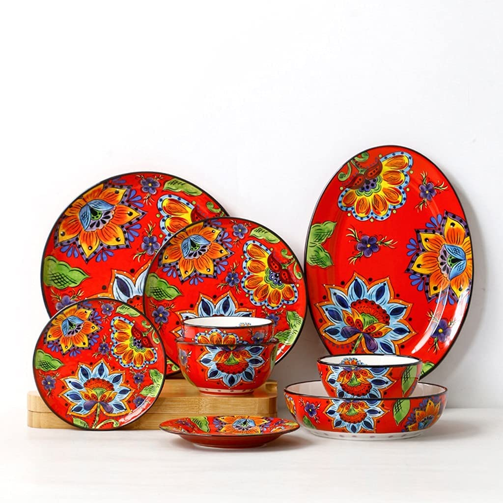 UXZDX Spasm price Hand-Painted Challenge the lowest price of Japan Bowls Dinner Fruit Plates Salad Personalized