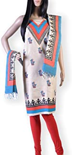 BEIGE COTTON HAND BLOCK PRINTED 2 PC SUIT