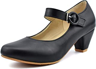 Women Kitten Heel Round Toe Ankle Strap Mary Jane Pumps Shoes