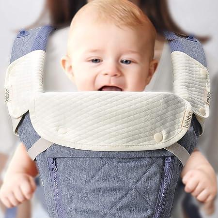 【ベビーアムール】Bebamour 抱っこ紐用よだれカバー よだれパッド 3点セット ベルトパッド 綿100% サッキングパッド ベビーキャリア用(白)
