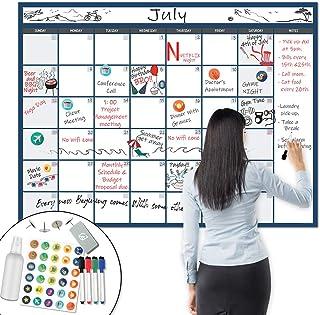 """$29 » X Large Dry Erase Wall Calendar - 36""""x48"""" Premium Giant Oversized Undated Erasable Deadline Task Calendar for 2021 - Jumbo..."""