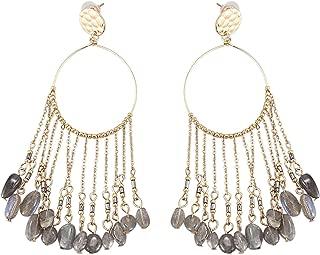 TOOGOO Long Earrings Geometric Stone Chain Tassel Pendant Earrings Round Stud Earrings Women