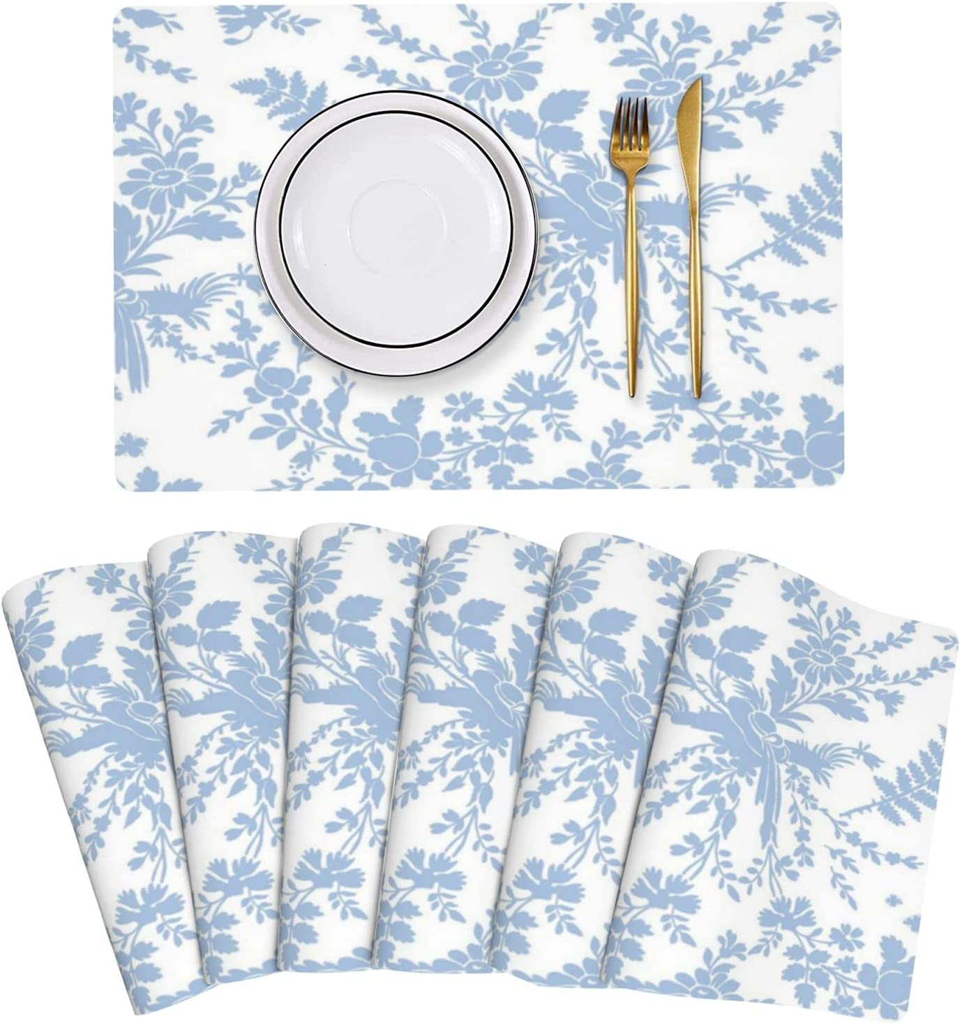 Paryma Blueberry Leather Placemats Set 6 Stain of Non- Resistant Gorgeous Product