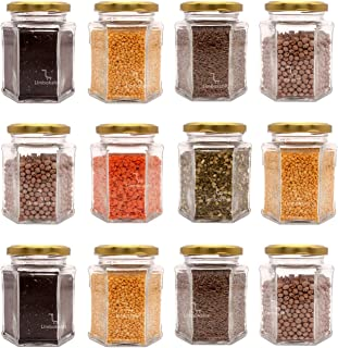 LIMBAKSHIT Set of 12 Hexagon Glass Jar & Container with Golden lid (250 ml) with Rust Proof Air Tight Lid,Suitable to use ...