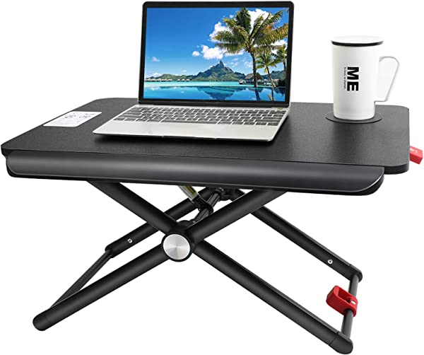 HUANUO Standing Desk Converter Height Adjustable Sit Stand Desk With Cup Pad 5 Height Adjustments Tabletop Stand Up Desk Workstation For Laptops Or Notebooks Up To 17 Inches