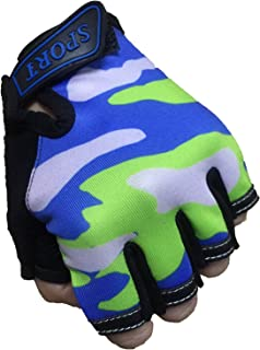 Fingerless Kids Gloves Bicycle Bike Cycling Camping Training Outdoor Sports Gloves for Children 4-12 Y Anti-Slip Elastic Mitten