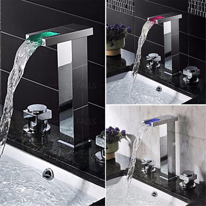 MNLMJ Moderne einfacheKupfer hei und kalt spülbecken wasserhhne küchenarmatur LED Farbwechsel Wasserfall hohe keramikventil doppel Griff DREI lcher waschbecken Becken Wasserhahn dreiteilig