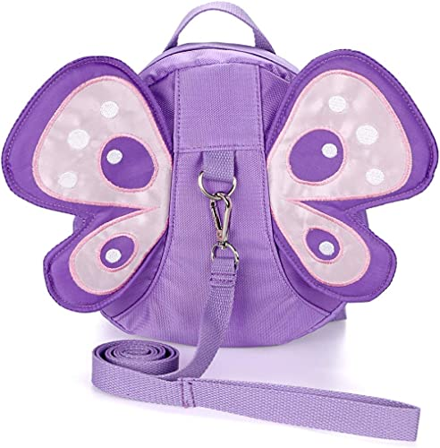 Hipiwe Baby Anti-Lost Backpack Butterfly Walking Safety Belt Harness Toddler Reins Strap with Leash (Purple)