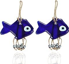 Ahenque Handmade Blue Fish Evil Eye Wall Hanging Talisman, Glass Home Decor Accessories, Newborn Gift/Baby Birth Gift, Home Decor Good Luck Charm Gift
