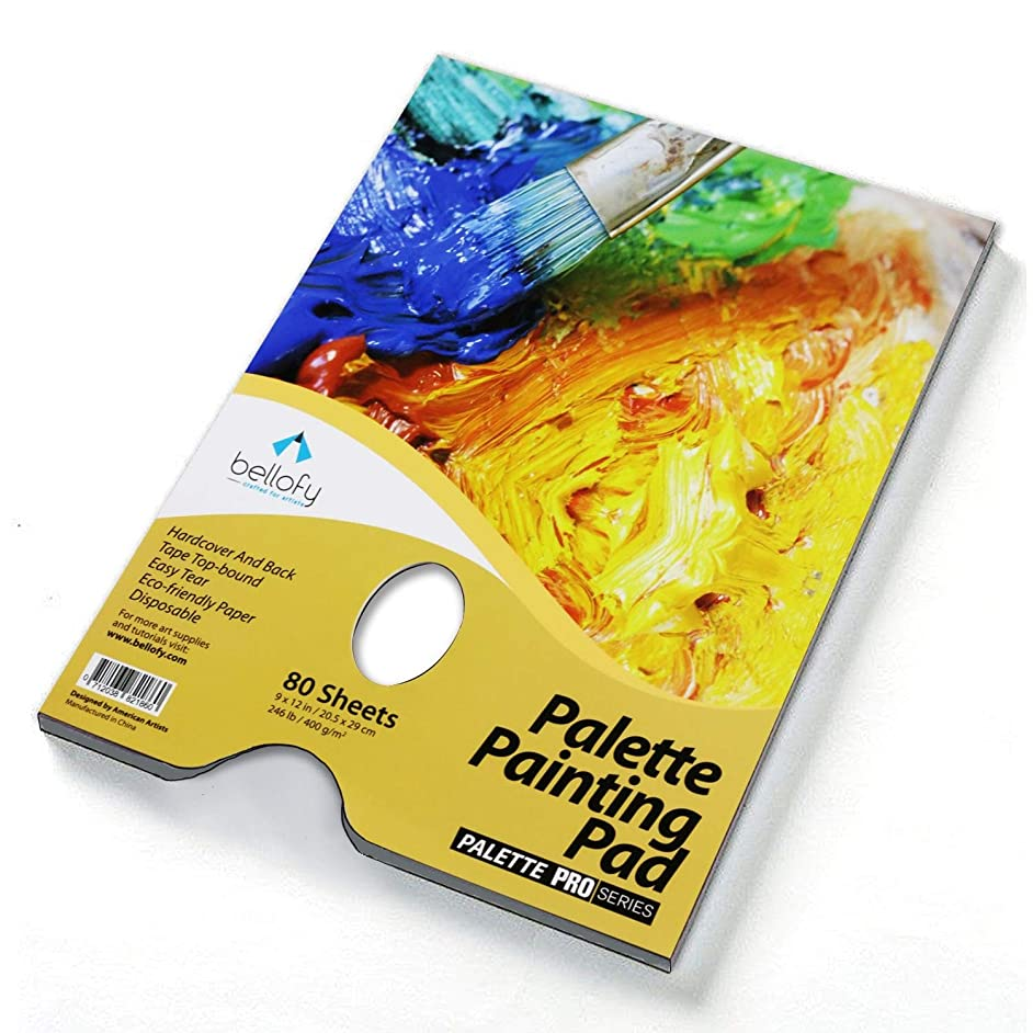 Bellofy Palette Painting Pad – Disposable 80 Sheets - 9x12 inches, 246lb / 400GSM - Perfect for Mixing Acrylic Paint, Oils, Watercolors, Caseins - Paint Mixing Palette, Oil Paint Mixing