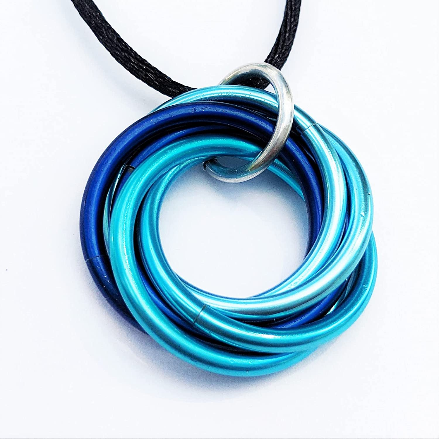 Mobii Necklace, Pendant (Medium), Multicolor Combos, Fidget Infinity Loop Forever Spiral Jewelry (Rainbow)