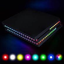 eXtremeRate PlayVital RGB LED Tira de Luces con 7 Colores 29 Efectos para PS4 Pro Consola, Tira de Iluminación con Remoto ...