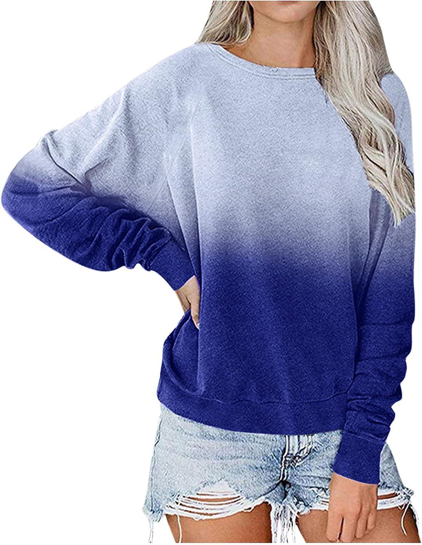 Womens Long Sleeve Tops,Womens Long Sleeve Pullover Fashine Colorful Tie Dye Printed Plus Size Crewneck Sweatshirts