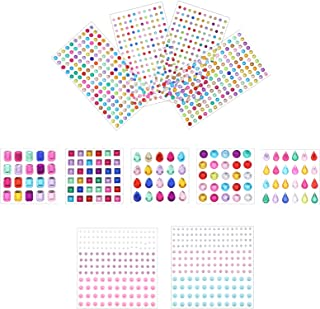 NUOBESTY 11 Sheets Rhinestone Stickers Acrylic Self Adhesive Face Gems Stick on Body Jewels Crystal Decals Embellishments ...