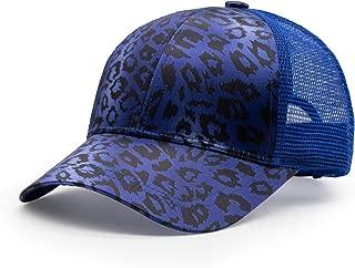 HAODIAN Women's Stylish Print Leopard Ponytail Baseball Cap Mesh Trucker Hat Ponycap