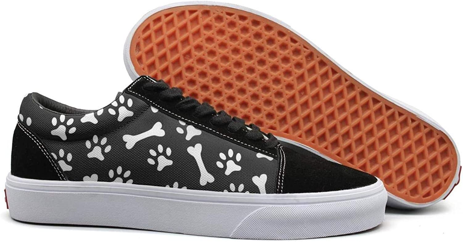 Winging Womens Paw Dog and Bone Black Backdrop Beautiful Suede Canvas shoes Old Skool Sneakers