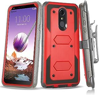 Stomern LG Stylo 4 Case, LG Q Stylus Case Belt Clip Holster Cover Heavy Duty Shockproof Full Body Protection Rugged Case for LG Stylo 4 / LG Stylus 4 Plus (Red Black)