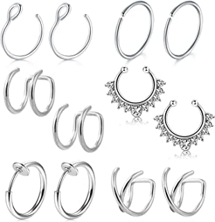 D.Bella Fake Nose Rings Hoop, 10mm 316L Stainless Steel Nose Septum Ring for Body Piercing Jewelry for Men Women