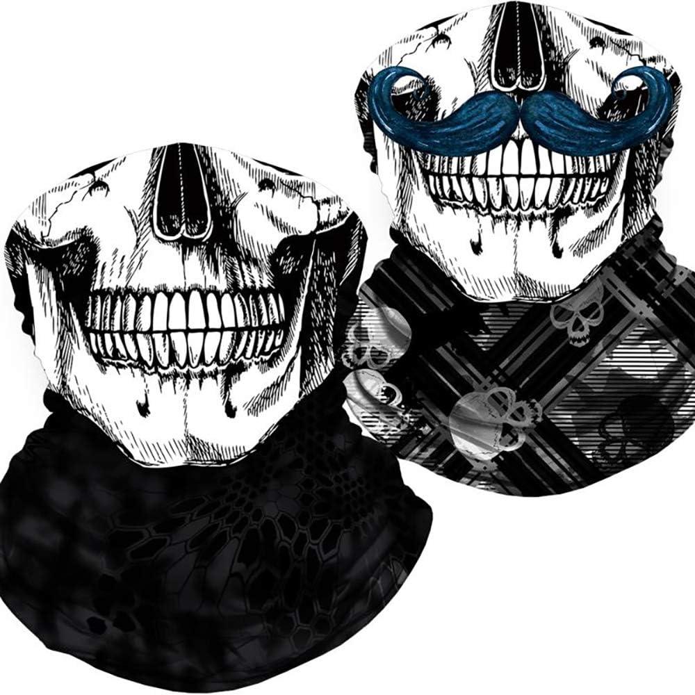 Skull Face Mask Bandana, Motorcycle Face Mask for Men Women, Skeleton Half Face Mask Sun UV Dust Wind Protection Breathable Rave Face Scarf Neck Gaiter for Biker Riding