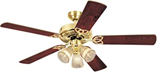 Westinghouse Lighting 78043 7804365 Westinghouse Lighting78043 Vintage Three-Light 52-Inch Five Blade Ceiling Fan, Polished Brass with Frosted Ribbed Shades,
