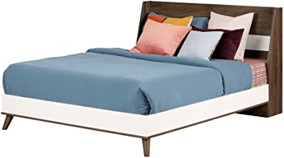 South Shore Yodi Complete Bed-Full-Natural Walnut and Pure White