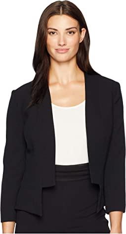 Open Crepe Collarless Jacket