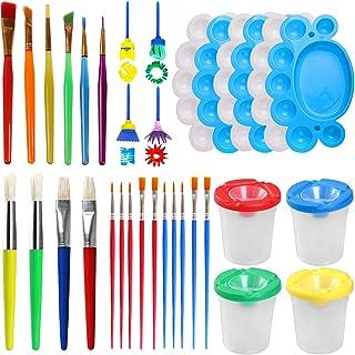 Leslady Kits de Peinture 34PCS Eponges à Peinture Enfant Créatif Art DIY Outils Brosses de Peinture Pinceaux de Peinture a...