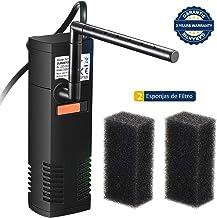 OMORC Filtro Interior 300L/H, Filtro Interno Multifuncional con 2 Esponjas de Filtro Reemplazables para Estanques de Peces o Tortugas de 60L, Ciclo de Agua, Oxigenación, Flujo Ajustable y Silencioso