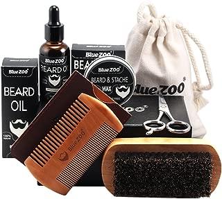 MagiDeal 7pcs Beard Kit for Men Beard Growth Grooming Trimming Beard Balm & Natural Beard Oil & Comb & Brush & Barber Scissors & Cases