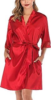 ABirdon Bata Kimono para Mujer,Corto Adorno de Encaje Ropa de Dormir de Albornoz de satén con Cuello en V Oblicuo para Despedida de Soltera, Bodas, Fiestas, etc.