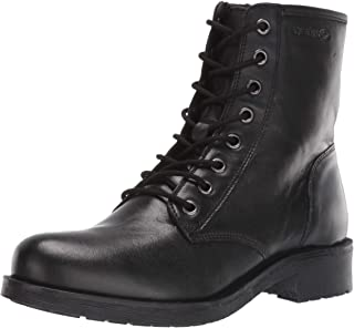 GEOX Women's Rawelle 3 Nappa Leather Military Combat Boot with Side Zip, Black Oxford, 39 M EU (9 US)