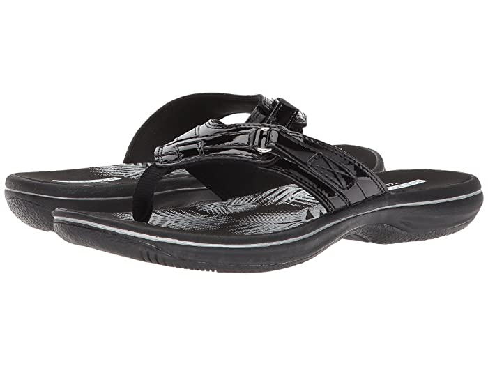 Clarks  Breeze Sea (Black Synthetic Patent) Womens Sandals