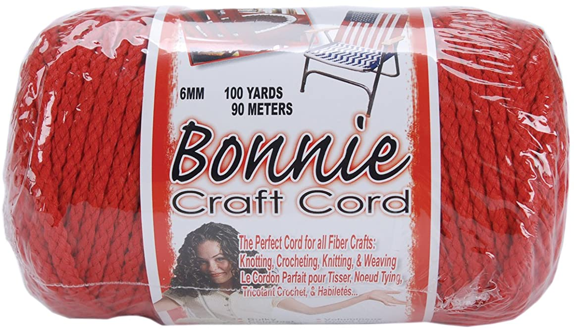 Pepperell 6mm Bonnie Macramé Craft Cord, 100-Yard, Red