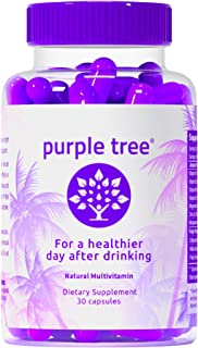 Purple Tree Hangover Cure & Prevention Pills | Dihydromyricetin (DHM), Milk Thistle, Vitamin B, Willow Bark, NAC, Prickly Pear, Electrolytes | Promotes Liver Health & Detox | Made in USA | 30 Pills