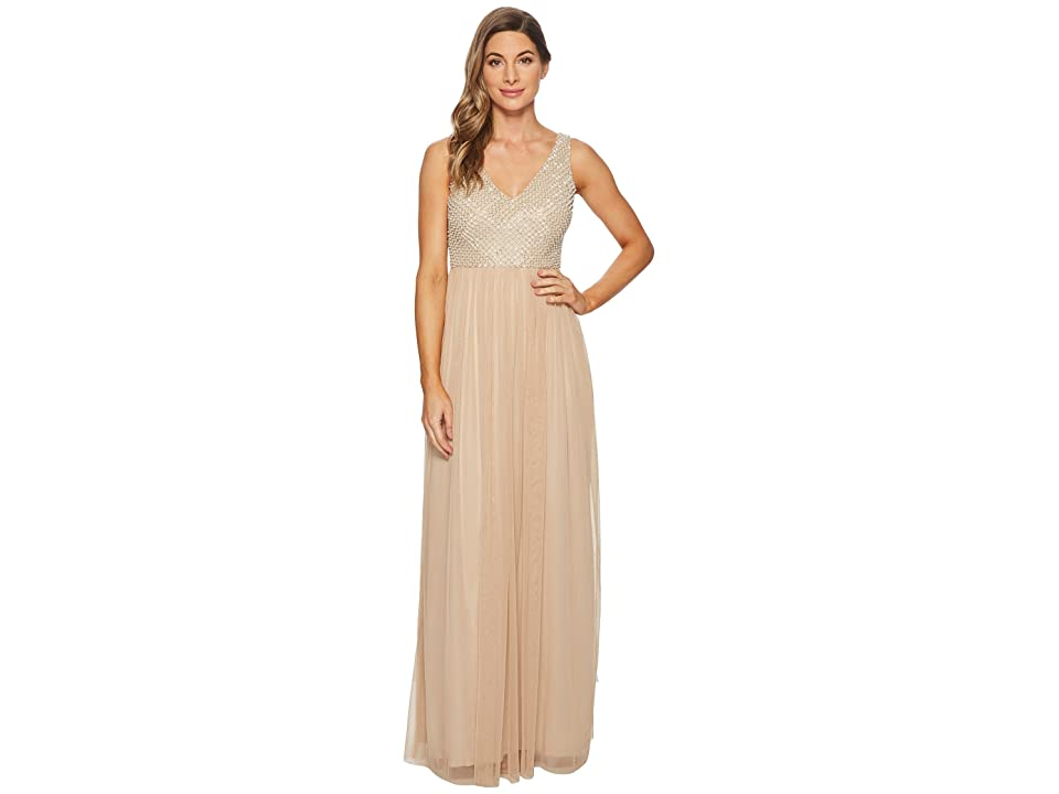 Adrianna Papell V-Neck Pearl and Bead Bodice with Long Mesh Ball Skirt (Champagne) Women