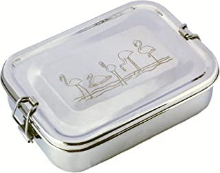 Lunch box/snack box for kids, food-safe premium quality stainless steel, eco-friendly and reusable with a Flamingoes print...
