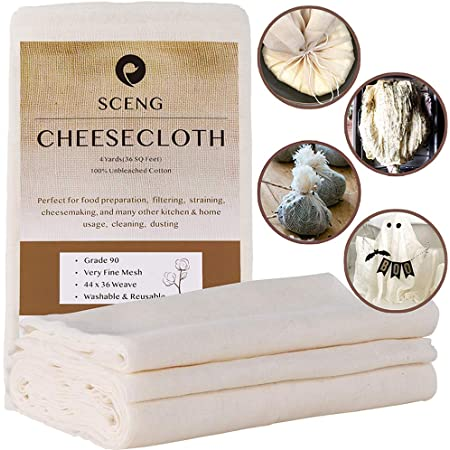Cheesecloth, Grade 90, 36 Sq Feet, Reusable, 100% Unbleached Cotton Fabric, Ultra Fine Cheese Cloth for Cooking - Nut Milk Bag, Strainer, Filter (Grade 90-4Yards)