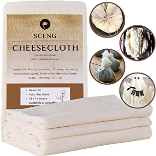 Sponsored Ad - Cheesecloth, Grade 90, 36 Sq Feet, Reusable, 100% Unbleached Cotton Fabric, Ultra Fine Cheesecloth for Cook...