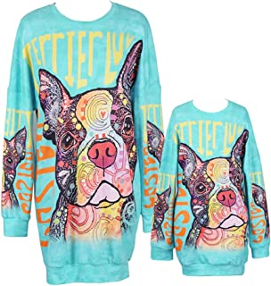 Qin.Orianna Mommy and Me Long Sleeve Unicorn Printed Family Matching Hoodies PulloverSweatshirt Dresses with Pocket