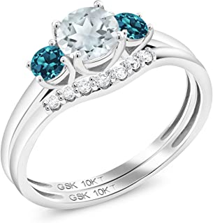 0.73 Ct Round Aquamarine London Blue Topaz 10K White Gold Lab Grown Diamond 3-Stone Bridal Engagement Wedding Ring Set
