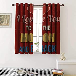I Love You Room Darkening Wide Curtains Vintage Style I Love You to The Moon and Back Calligraphy Nostalgic Romance Window Curtain Drape W108 x L72 Inch Ruby Marigold
