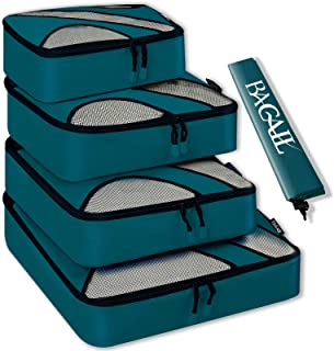4 Set Packing Cubes,Travel Luggage Packing Organizers with Laundry Bag Or Toiletry Bag (Teal)