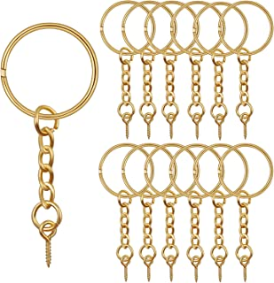 BronaGrand 50pcs 25mm Split Key Ring with Extend Chain and 12mm Screw Eye Pin for Craft Charm Making,Gold