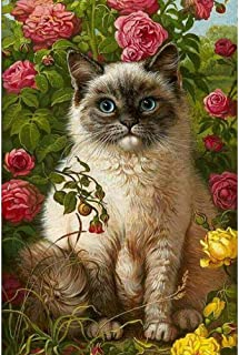 DIY 5D Diamond Painting by Numbers Kits, Siamese Cat and Flowers, Full Drill Rhinestones Paint with Diamonds Crystal Diamond Art (Cat)