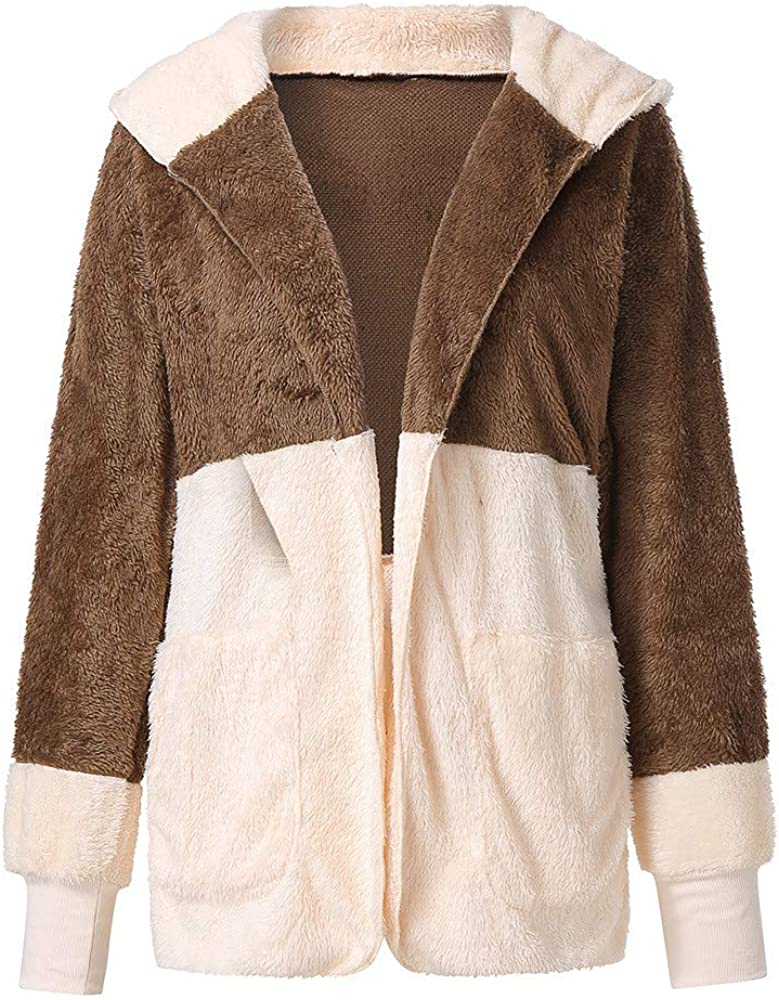 Hzing Womens Tops Solid Zipper Hooded Fluffy Cardigan Coat Long Sleeve Suits Outwear with Pocket